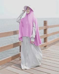 hijab warna abu bahan babyterry